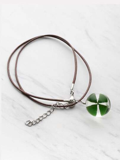 Glass Clover Pendant Necklace