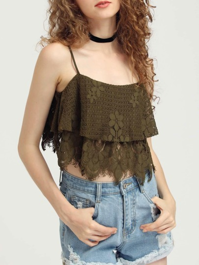 Crop Two Layer Floral Lace Cami Top