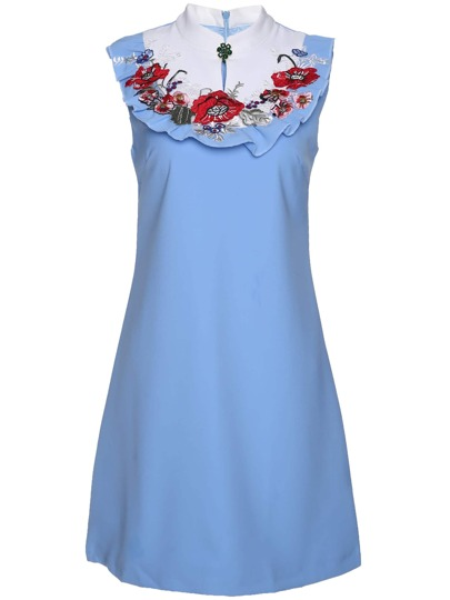 Color Block Flowers Embroidered Dress