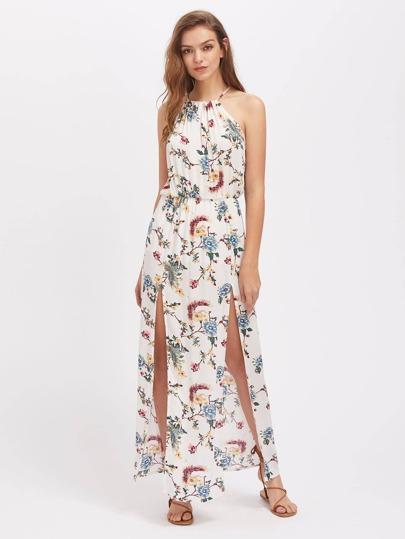 Halterneck Floral Print M-Slit Dress