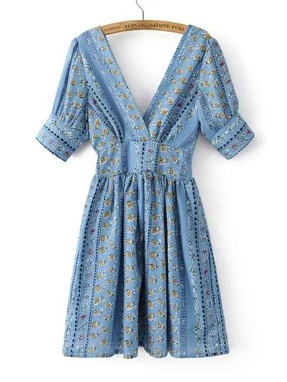 Double V Neck Elbow Sleeve Dress