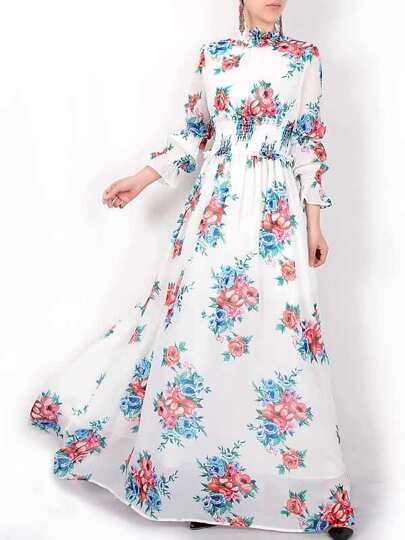 Flowers Print Elastic-Waist Maxi Dress