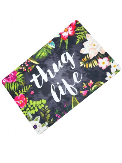 Tapiz con estampado de flor y letras