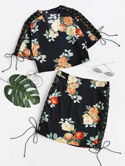 Floral Print Tie Sleeve Top With Skirt