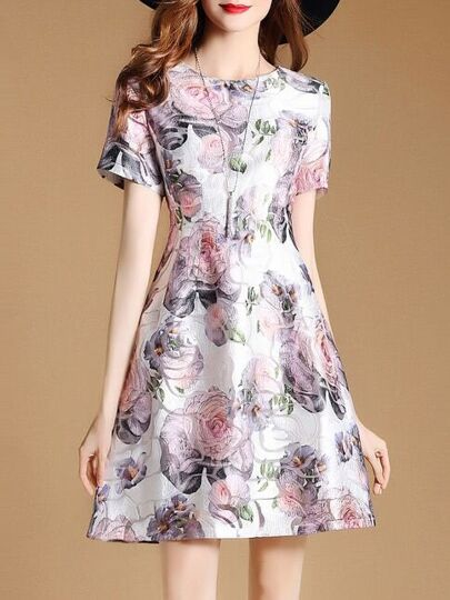 Flowers Jacquard A-line Dress