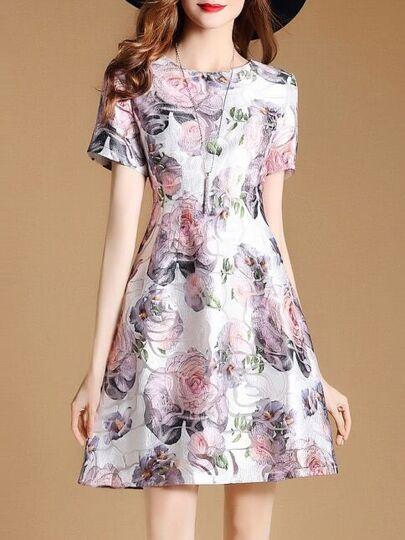 A-Linie Kleid mit Blumen und Jacquard
