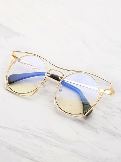 Hollow Frame Round Lens Glasses