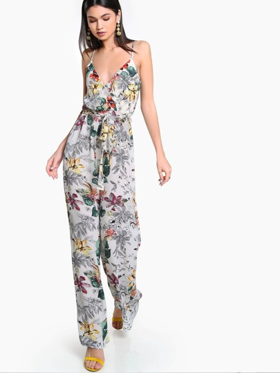 Spaghetti Strap Wrap Belt Floral Jumpsuit IVORY