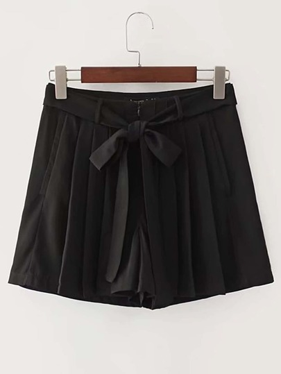 Pleated Loose Shorts With Self Tie