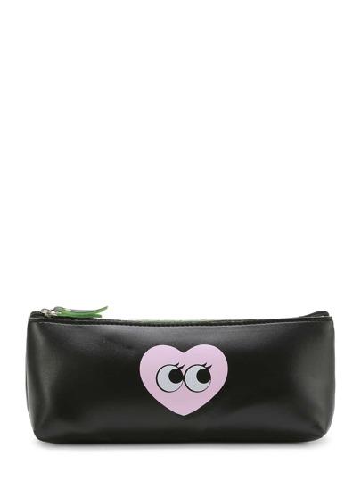 Heart & Eye Pattern Rectangle PU Makeup Bag