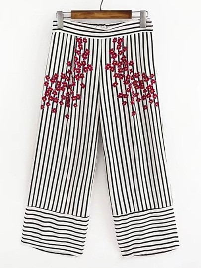 Vertical Striped Flower Print Wide Leg Pants