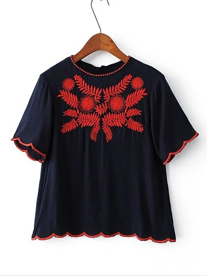Wave Hem Embroidery Top