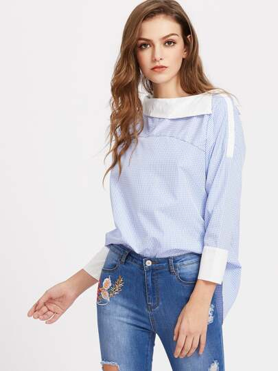 Fold Over Neckline Gingham Dip Hem Top