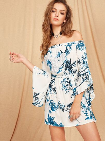 Trumpet Sleeve Self Belted Botanical Bardot Dress