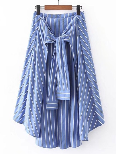 Vertical Striped Knot Front Asymmetrical Skirt