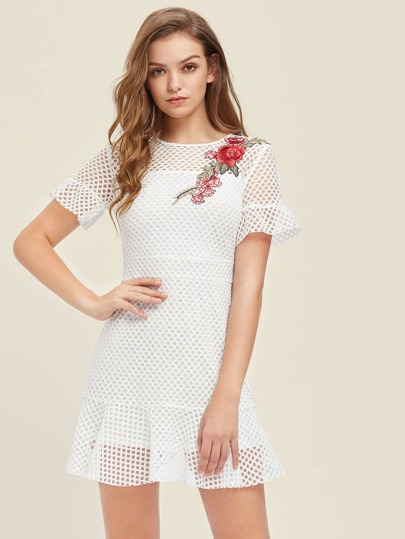 Embroidered Rose Applique Square Cutout Frilled Dress