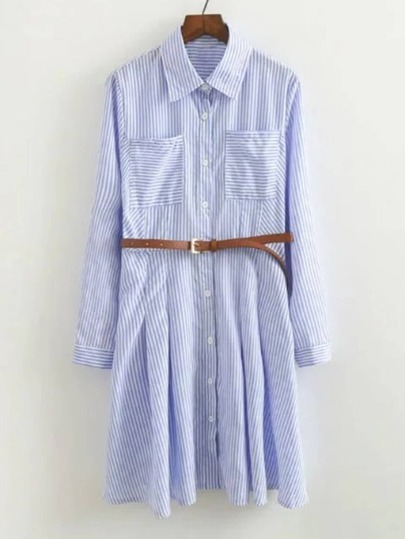 Vertical Striped Shirt Dress With Belt