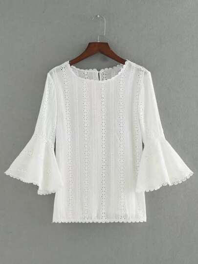 Bell Sleeve Lace Hollow Out Top