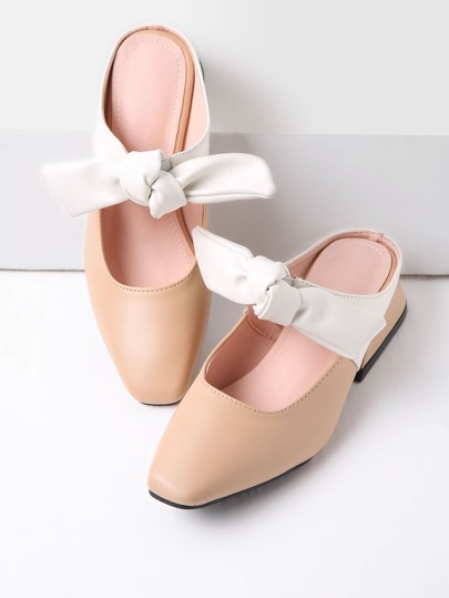 Bow Tie Front PU Loafer Mules