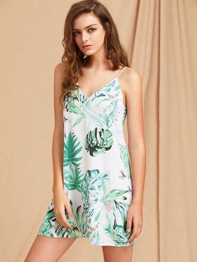 Tropical Print Double V Neck Cami Dress