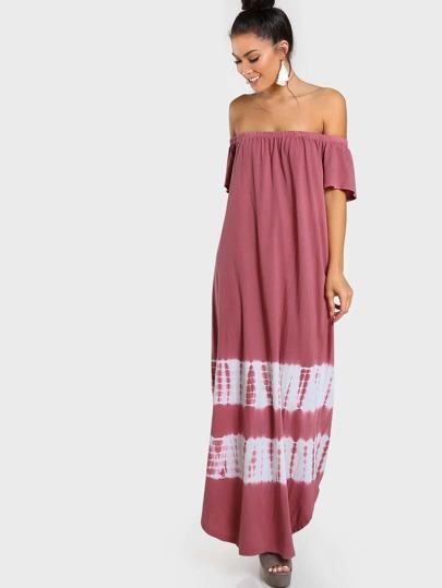 Off Shoulder Tie Dye Dress RUST