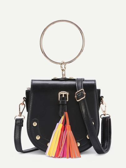 Tassel Detail PU Crossbody Bag With Ring Handle