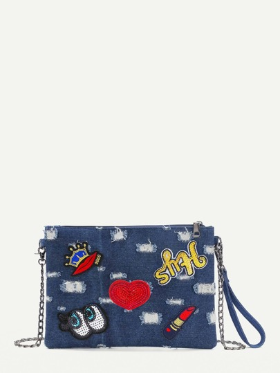 Distressed Crown And Heart Patch Denim Clutch Bag