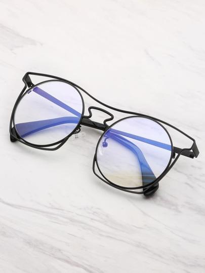 Hollow Frame Round Lens Glasses