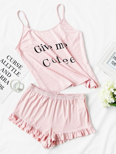 Letter Print Cami And Ruffle Shorts Pajama Set