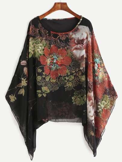 Camicetta in chiffon floreale con maniche di kimono