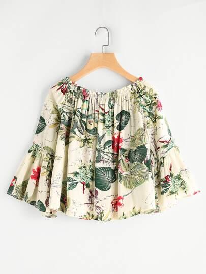 Tropical Print Bell Sleeve Top