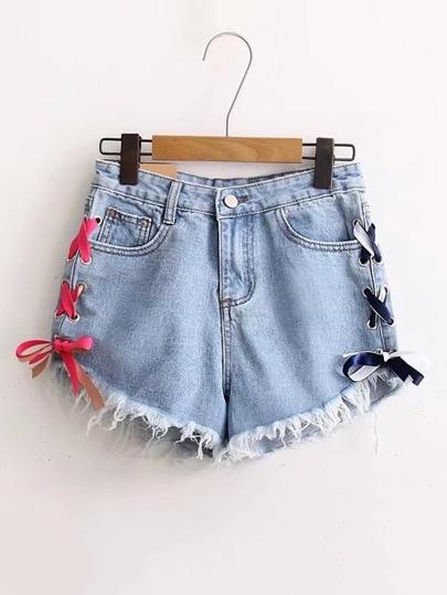 Pantaloncini di jeans con laccetti