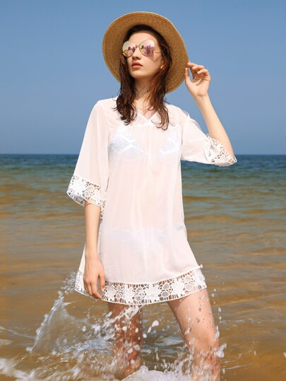 Crochet Trim Sheer Beach Cover Up Dress