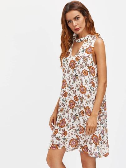Choker V Neck Floral Print Dress