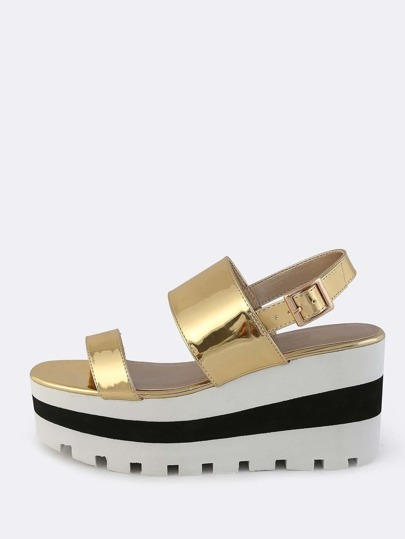 Patent Two Band Sandal GOLD