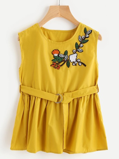 Embroidered Appliques Sleeveless Smock Top With Ring Belt