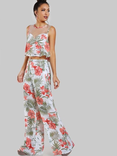 Tropical Print Mesh Crop & Matching Pant Set WHITE