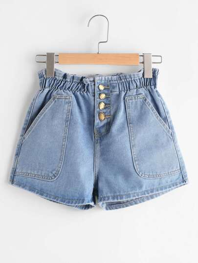 Single Breasted Shirred Waist Denim Shorts