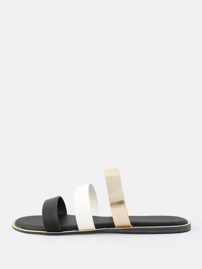 Triple Band Metallic Trim Sandals BLACK
