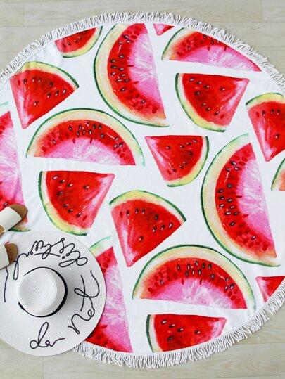Watermelon Slice Print Fringe Trim Round Beach Blanket