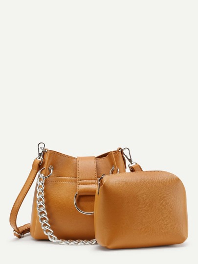 Chain Detail PU Shoulder Bag With Clutch