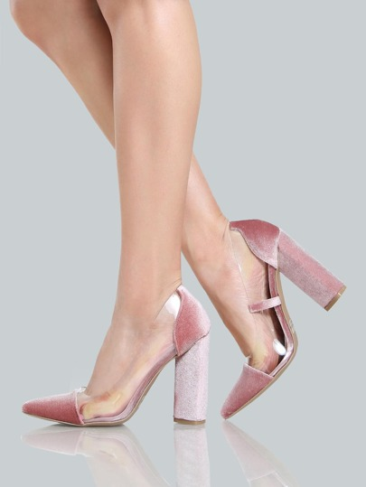 Velvet Closed Toe Clear Pumps BLUSH