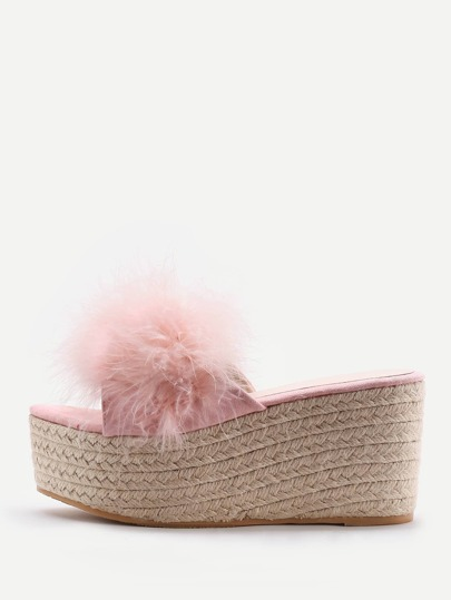 Faux Fur Embellished Woven Wedge Sandals