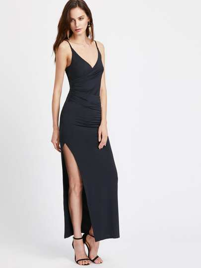 High Slit Ruched Surplice Cami Dress