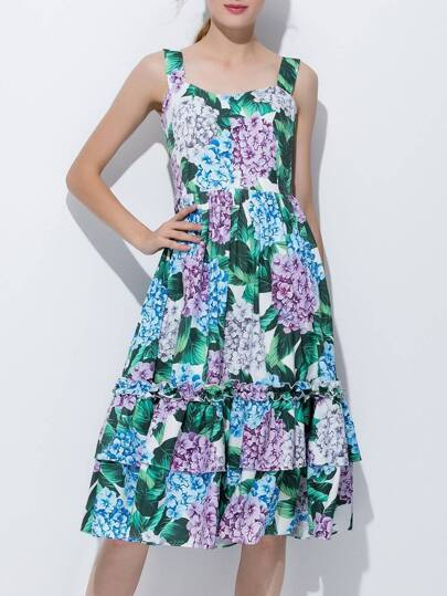 Strap Backless Flowers Print Flounce Dress