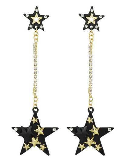 New Coming Rhinestone Star Shape Long Earrings