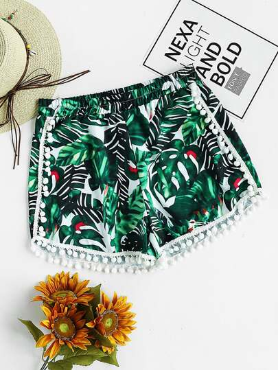 Palm Leaf Print Pom Pom Trim Shorts
