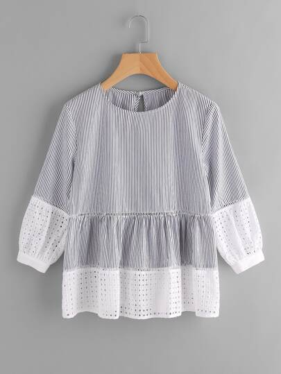 Ladder Lace Insert Eyelet Embroidered Cuff And Hem Top