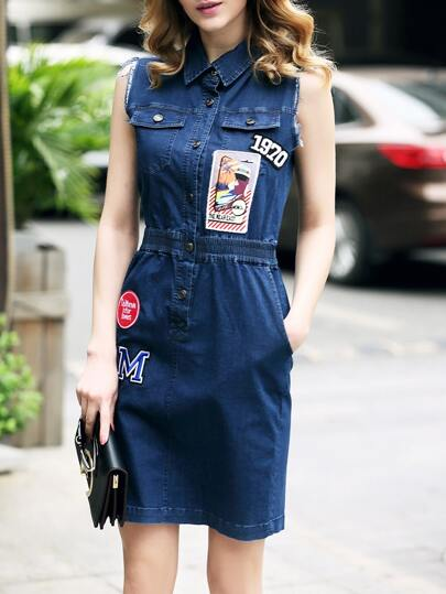 Applique Pouf Elastic-Waist Pockets Denim Dress