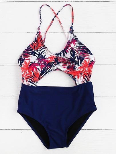 Jungle Print Front Cutout Cross Back Swimsuit